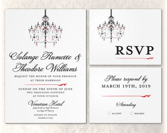 Printable Chandelier Invitation Wedding Red Black Venetian Elegant Bridal Flat Graphic Simple Custom Color Font
