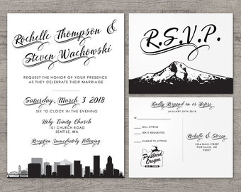 Portland Invitation Wedding Party Special Event Flat Other Cities available City Skyline Oregon Hometown Travel Mount Hood