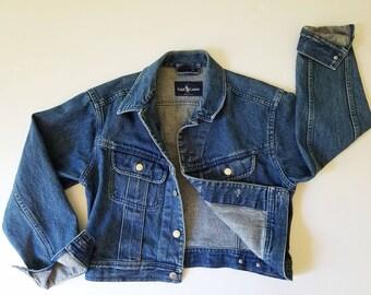 Vintage Denim Jacket RALPH LAUREN Jean Jacket Dark Denim Jean Jacket Cropped Waist 90s Vintage Blue Jean Jacket M