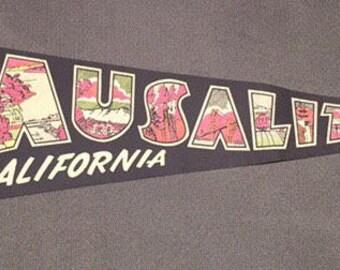 Vintage black souvenir pennant Sausalito California neon colors 1970s