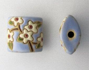 White Spring Blooming Pendant Bead, White Flowers With Yellow Center Pillow Beads, Golem Design Studio, Artisan Ceramic Pendants