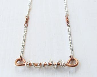 Copper Bar Neckace Mixed Metal Necklace Chain Necklace