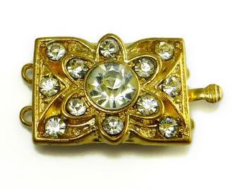 Gold Rhinestone Clasp Vintage Swarovski Crystal Two Strand Clasp C-9