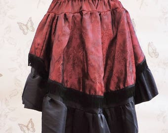 Gothic burlesque skirt, steampunk skirt ,black red bustle skirt , steampunk clothing, pirate, saloon, costume,stripes