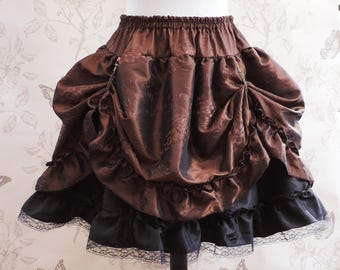 Steampunk skirt , bustle skirt style with brown taffetas, steampunk clothing, pirate, saloon, victorian, costume