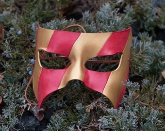 Masquerade Leather Mask Red and Gold