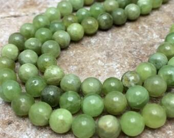 Artichoke Jade 6mm Round Beads, 8 inch strand, Gemstones