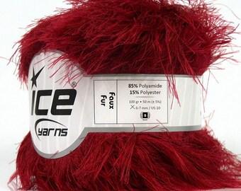 ICE YARNS Faux Fur dark red 100gr 54yrds eyelash type yarn knitting crochet polyamide polyester bulky chunky 36775