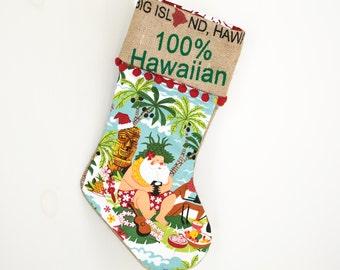 Hawaiian  Santa Christmas Stocking