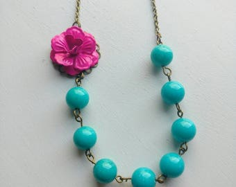 Pink Flower Necklace. Turquoise Necklace. Beaded Necklace. Bridal Jewelry. Bridesmaid Necklace. Statement Necklace. Wedding