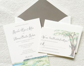 Watercolor Wedding Invitation, Charleston Invite, Lowcountry Wedding, Oak Tree Wedding Invitation, Stationery, Wedding Invite, Custom Invite