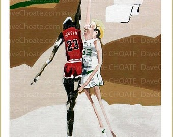 Photo print from an original painting of Michael and Larry Bird. Bulls vs Celtics.