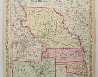 Rare Antique Map 1858 Mitchell Desilver Map Nebraska New Mexico Map Kansas Indian Territory Map