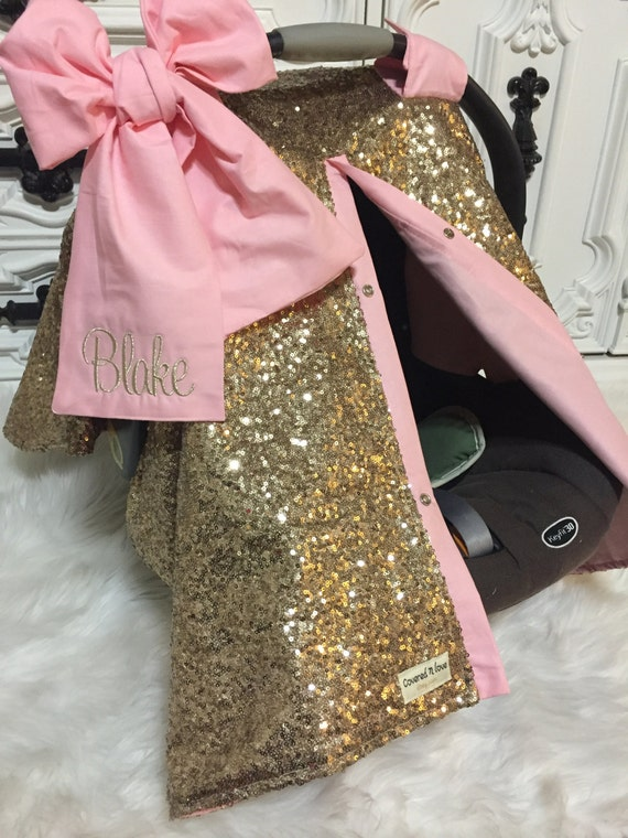 Gold Sparkle Car Seat Canopy With Bow And Name Carseat Cover