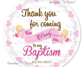 Baby Girl Baptism -Baby Angel Labels -Personalized Baptism Stickers -Custom Angel Girl Labels -Baptism Sticker Favors -Choose Size-