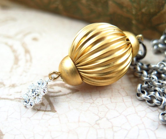 Holiday Gold Ball Necklace, Silver and Gold Necklace, Vintage Pendant, Christmas Gift, Rhinestone Flower Necklace