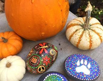 Outdoor Paw Rock & Spiral Rock or Dotty Pumpkin Peace Rock