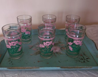 Vintage Retro 50s Set of 6 Drink Glasses Cottage Pink