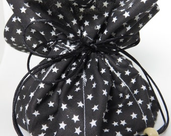 Travel Jewelry Pouch Organizer in Black and White Star Print