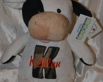 Personalized stuffed animal - Cow - Farm -  Birth Announcement - Baby Keepsake - Plush - Cubbie - Embroidered stuff animal