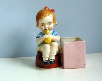 Vintage 1930s made in Japan small planter Little girl planter Made in Japan cache pot