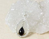 ON SALE Silver Black Tourmaline Teardrop Necklace - Diamond Necklace - Gifts for Her