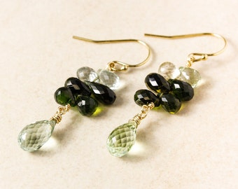 Gold Green Tourmaline Cluster Earrings, Dangle Earrings, Natural Tourmaline, Tourmaline Teardrops