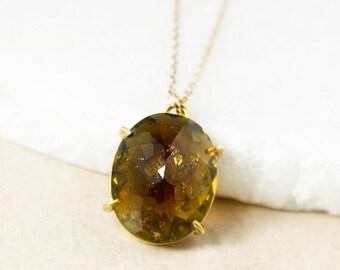 CHRISTMAS SALE Yellow Tourmaline Oval Necklace, Tourmaline Pendant, 14kt Gold Filled