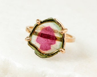 Watermelon Tourmaline Slice Ring - One of a Kind Watermelon Slice - Free Form Shape