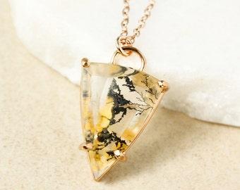 Clear and Yellow Dendrite Quartz Necklace - Triangular Dendritic Quartz - Black Iron Inclusions
