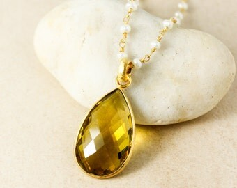 Gold Citrine Quartz Teardrop Necklace - November Birthstone - White Pearl Chain