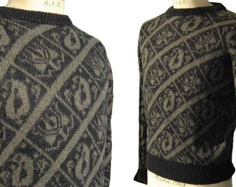 Vintage Emilio Pucci Sweater Mens Intarsia Brown & Black Vivara XL