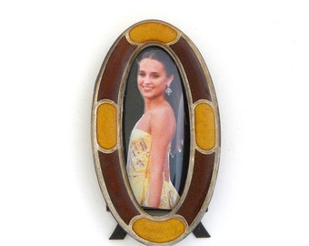 Picture Frame - Oval - Tiny - Tortoise - Gold Tabletop - Desk - Easel Back - Retro - Feminine - 1930s - Art Deco Style - Vintage - Recycled