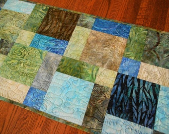 Quilted Batik Table Runner in Shades of Blue Green and Brown, Quilted Table Topper, Quilted Tablecloth, Coffee Table Decor, Woodland Decor