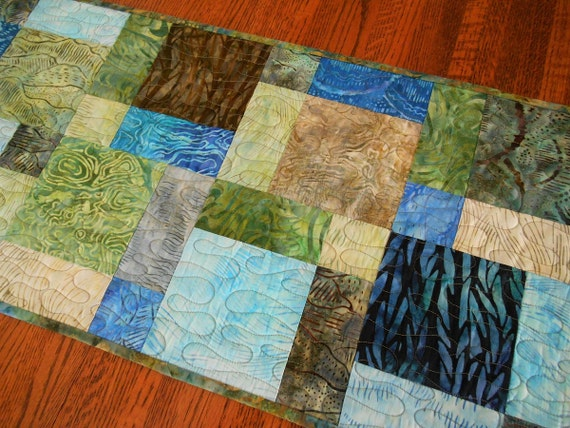Quilted Batik Table Runner in Shades of Blue Green and Brown, Quilted Table Topper, Batik Table Mat, Quilted Tablecloth, Quiltsy Handmade
