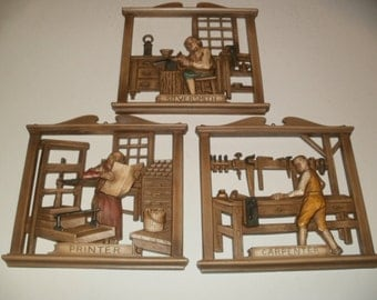Vintage Group of 3-D Plastic Wall Hangings - Garage, Shop, Man-Cave, Class Room, Decorative, Art,Display, Collectible