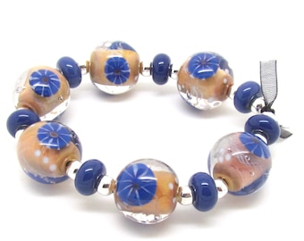 Blue Organic Lampwork Beads,  Lampwork Beads, Lampwork Bead Set, Murrini Beads, UK, SRA, FHFteam