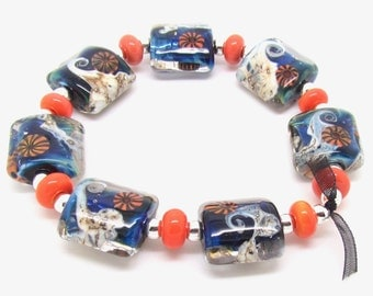 Silver Glass Lampwork Beads,  Lampwork Beads, Lampwork Bead Set, Murrini Beads, UK, SRA, FHFteam