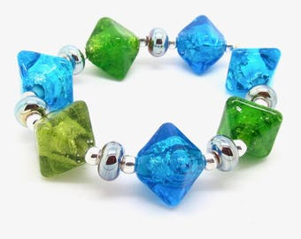Bright Lampwork Beads, Crystal Lampwork Beads, Lampwork Bead Set, UK, SRA, FHFteam