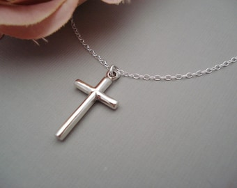 Sterling silver Cross Necklace...Simple Cross pendant, Everyday jewelry, Bridesmaid gift, Gift for her, Faith, Religious jewelry