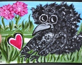 Baby Bird, Crow, Aceo/Atc, Nature/flowers, Painting, Original Acrylic, Nature's Beauty