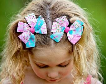 Pink Flamingo Hair Bow, Girl's Pinwheel Bow, Flamingo Patchwork Hair Bow, Hair Bows For Girls, Toddler Hair Bows, Piggy Tail Bows, Beach Bow