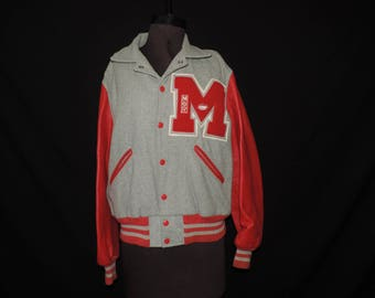 1960s letterman's school jacket wool gray and red football manager varsity letter jacket