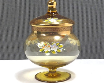 Amber Glass Hand Painted Floral Accent Candy Jar Vintage 1950s Covered Glass Apothecary Jar