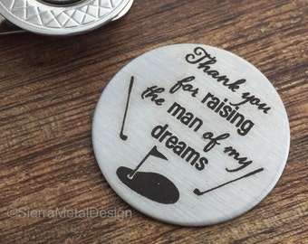 Thank you for raising Golf Ball Marker Father of the Groom Golf Ball Marker Golf Gift Parent Wedding Gift For Father in Law Mens Gift
