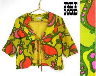 Psychedelic Vintage 60s Bright Yellow, Green, Orange and Pink Crazy Paisley Linen Lightweight Jacket by Saba