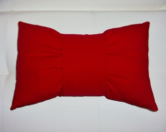 FREE SHIPPING 15x8 Red Cotton Bow Tie Lumbar Pillow