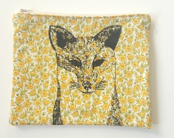 Fox illustration screen printed floral make up bag/clutch - Large