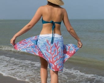 ON SALE 15 OFF Elegant  Hand Painted Silk  Cotton Beach Pareo Sarong  with Coral Reef Red Blue White Beach Fashion Summer Vacations