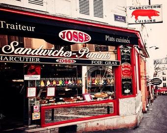 Paris Cafe Wall Art, Red Home Decor, Montmartre Charcuterie Print - pig art, beige, Travel Photography, Landscape Photograph, Streets France